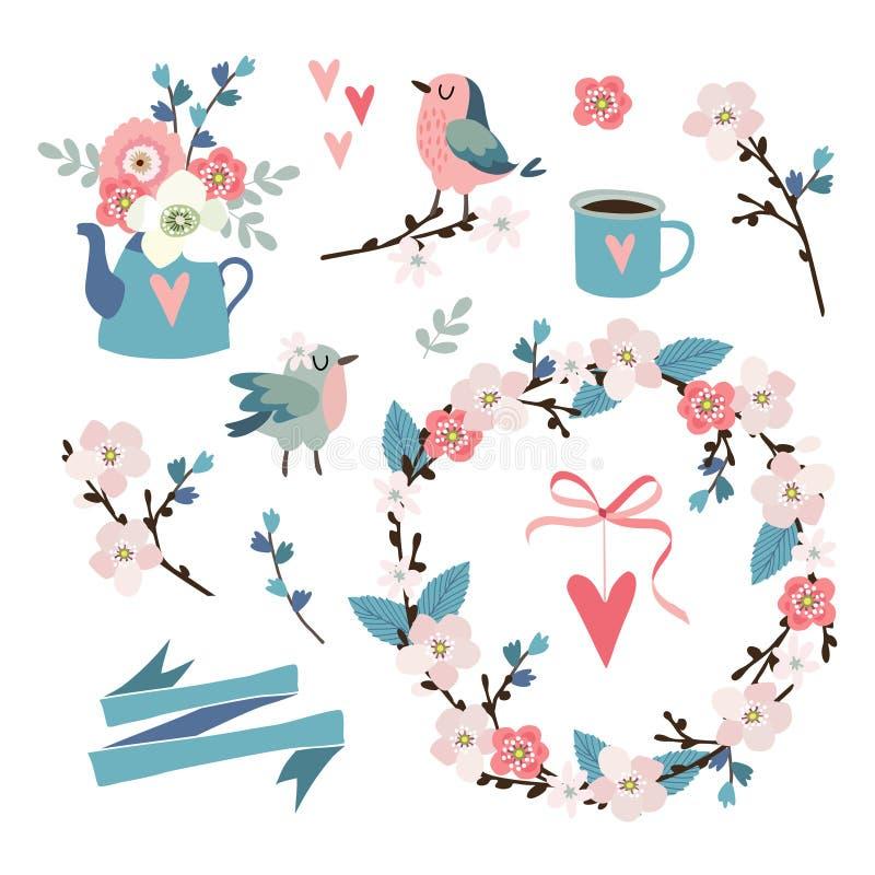 Uppsättning av våren, påsk- eller bröllopsymboler, gem-konster Blommor, körsbärsröda blomningar, fåglar, blom- krans, hjärtor och stock illustrationer