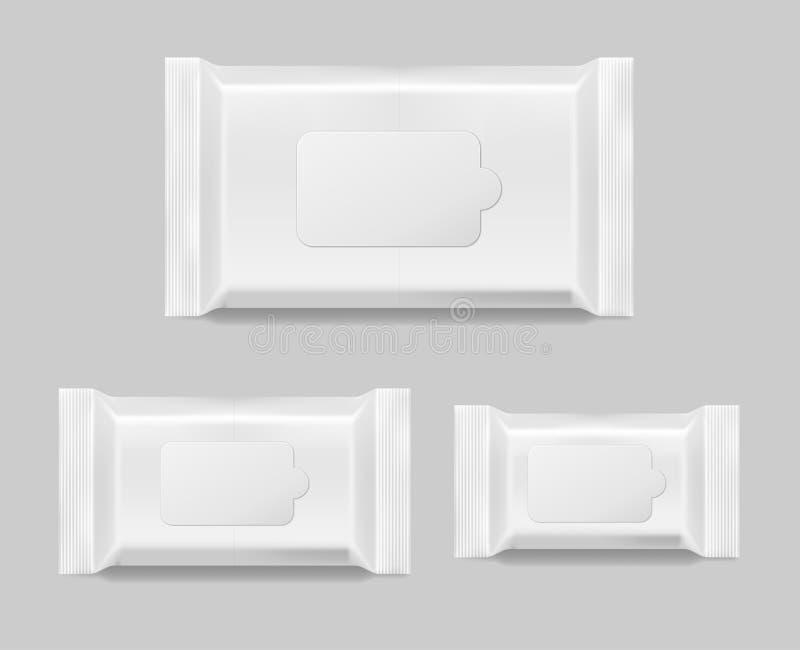 Uppsättning av våta den isolerade wipesservettmallen Packe för våta wipes för vit tom också vektor för coreldrawillustration stock illustrationer