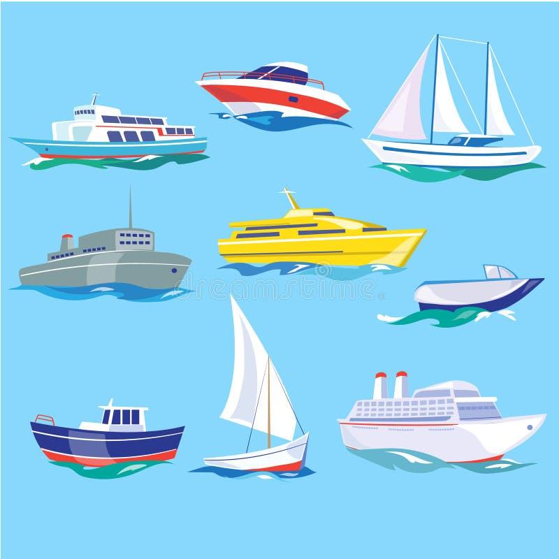 Uppsättning av vagn för havsskeppvatten och maritim transport stock illustrationer