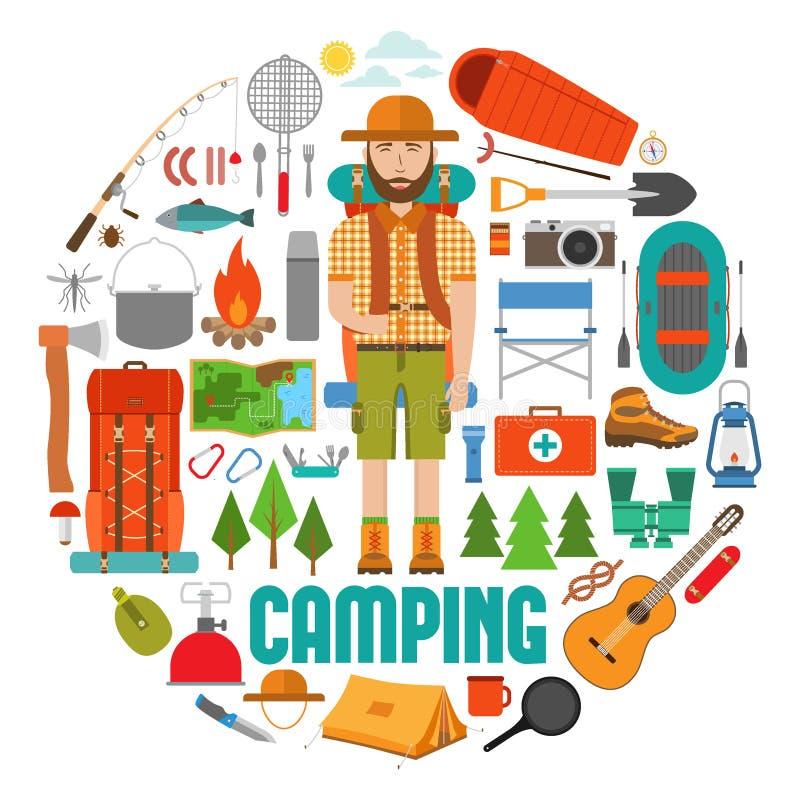 Uppsättning av vandring- och lägerutrustning i lägenhet royaltyfri illustrationer