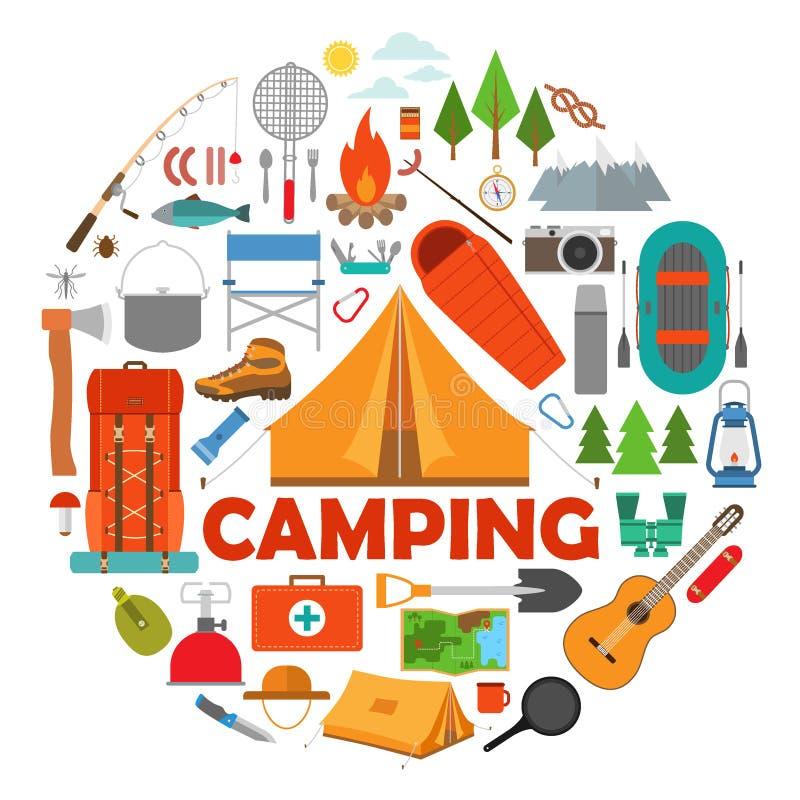 Uppsättning av vandring- och lägerutrustning i lägenhet stock illustrationer