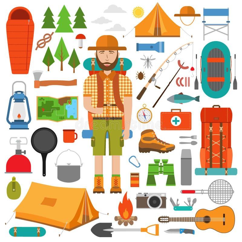 Uppsättning av vandring- och lägerutrustning i lägenhet vektor illustrationer