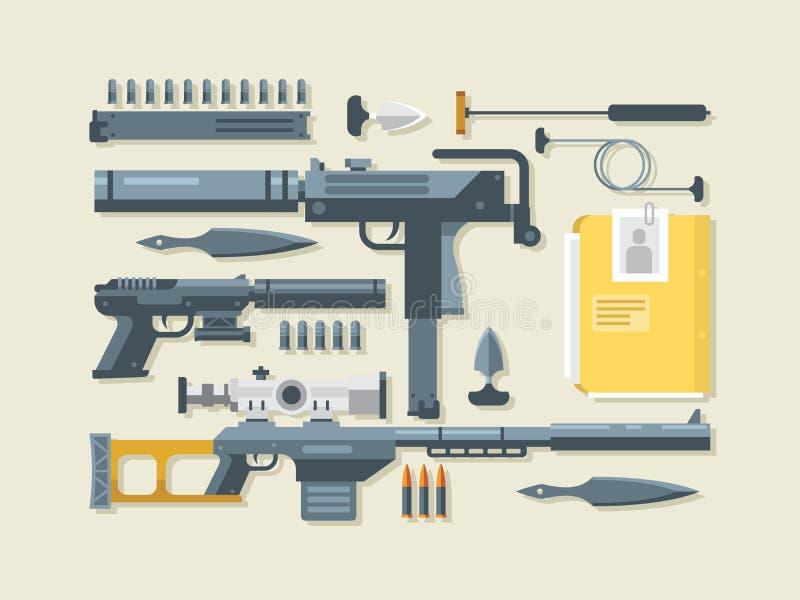 Uppsättning av vapen royaltyfri illustrationer