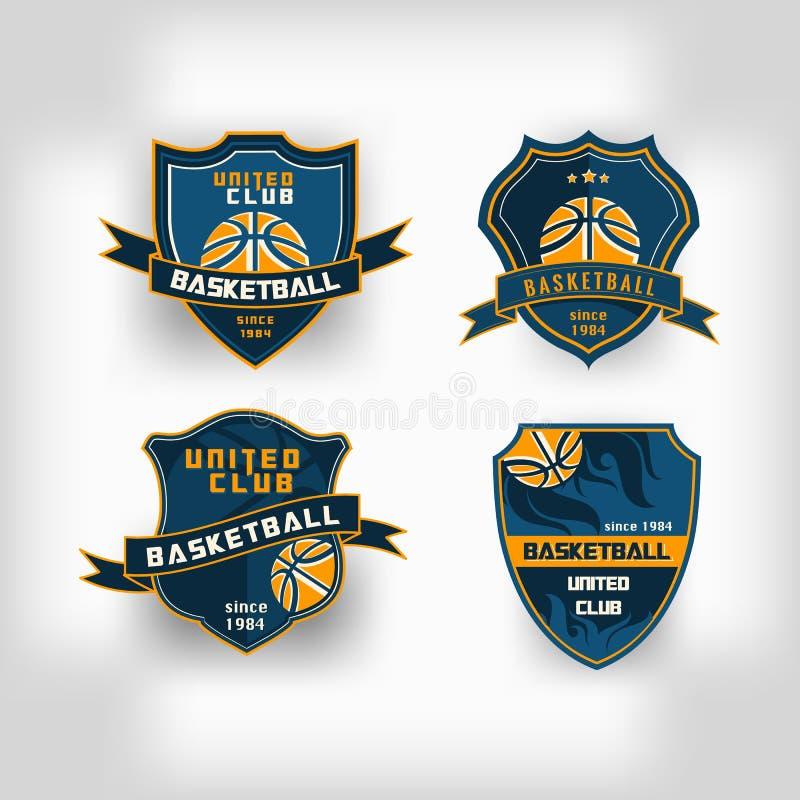 Uppsättning av vapnet för logo för emblem för baskethögskolalag stock illustrationer