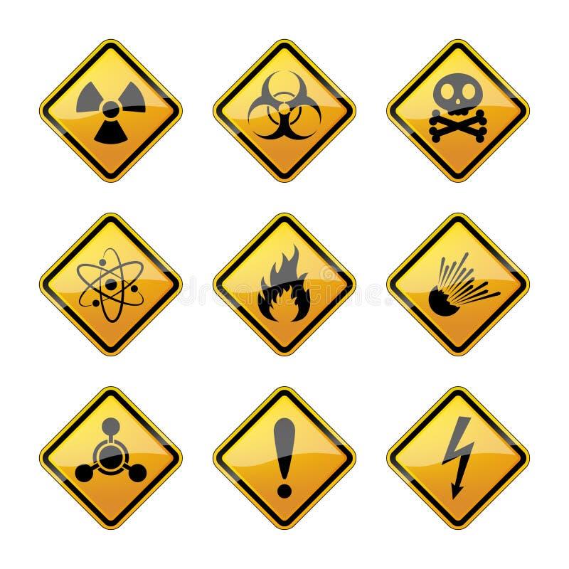 Uppsättning av varningsfaratecken också vektor för coreldrawillustration stock illustrationer