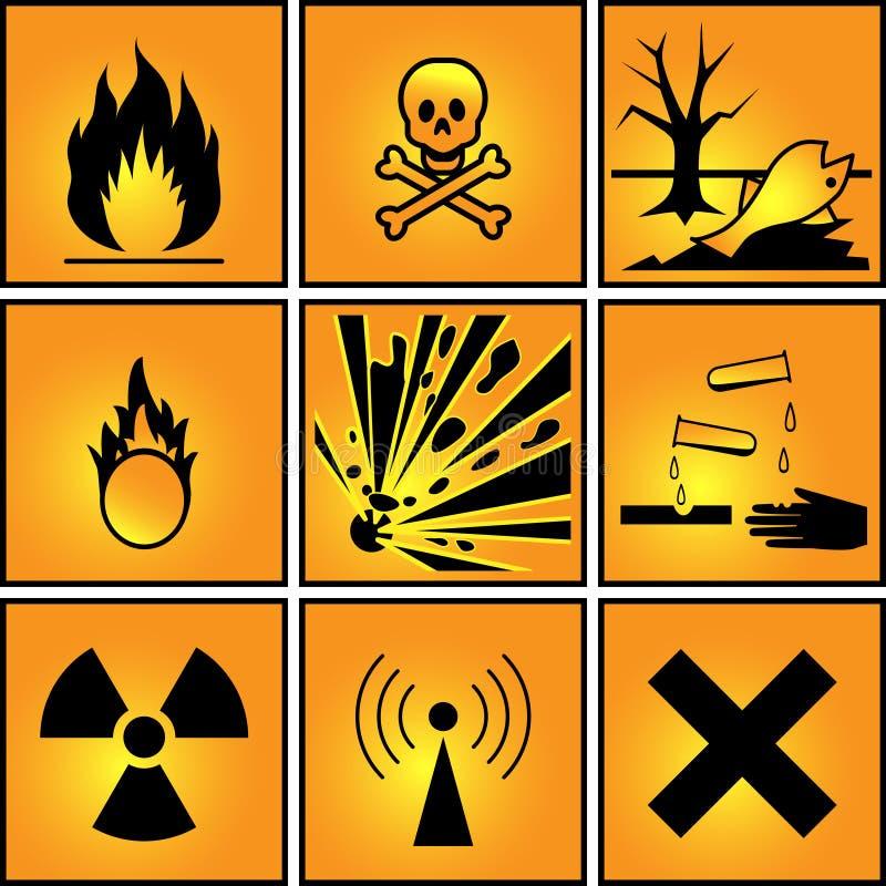 Uppsättning av varningstecken. royaltyfri illustrationer