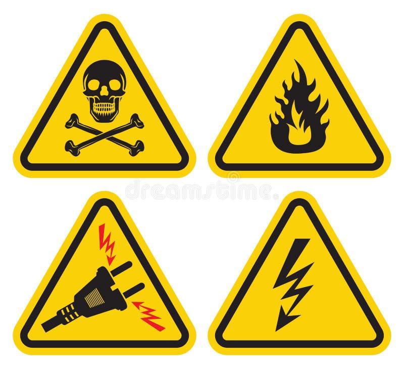 Uppsättning av varningstecknet vektor illustrationer