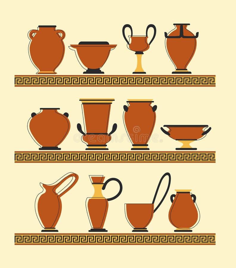 Uppsättning av vaser vektor illustrationer