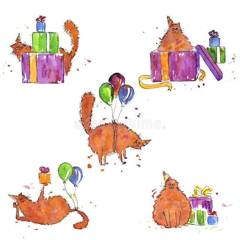 Uppsättning av vattenfärgbilder av en ljust rödbrun födelsedagkatt royaltyfri illustrationer