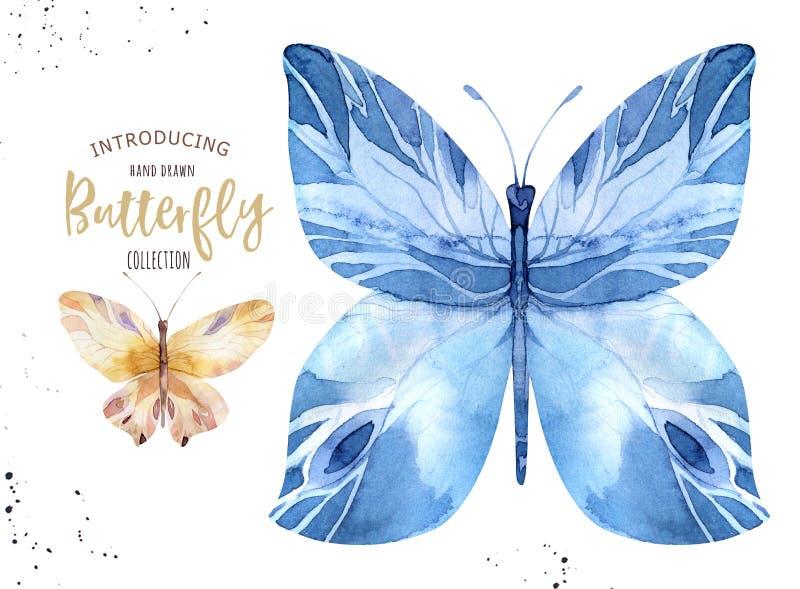 Uppsättning av vattenfärgbohofjärilen Isolerad vårkonst för tappning sommar Akvarellillustration designbröllopkort stock illustrationer