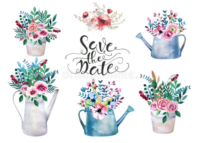 Uppsättning av vattenfärgbuketter Fjädra blommor i kruka lantligt stock illustrationer
