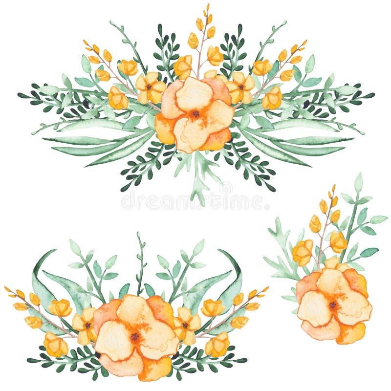 Uppsättning av vattenfärgbuketter med gulingblommor och gräsplansidor vektor illustrationer
