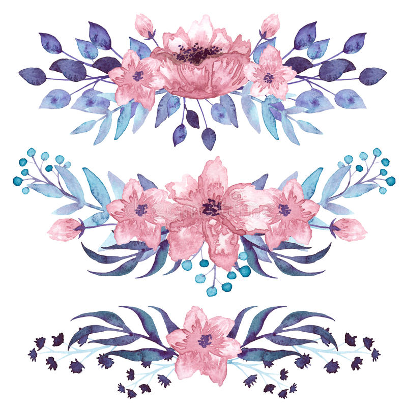 Uppsättning av vattenfärgbuketter med rosa blommor vektor illustrationer