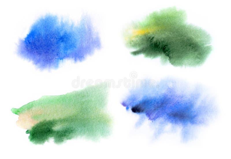 Uppsättning av vattenfärgfläckar vektor illustrationer