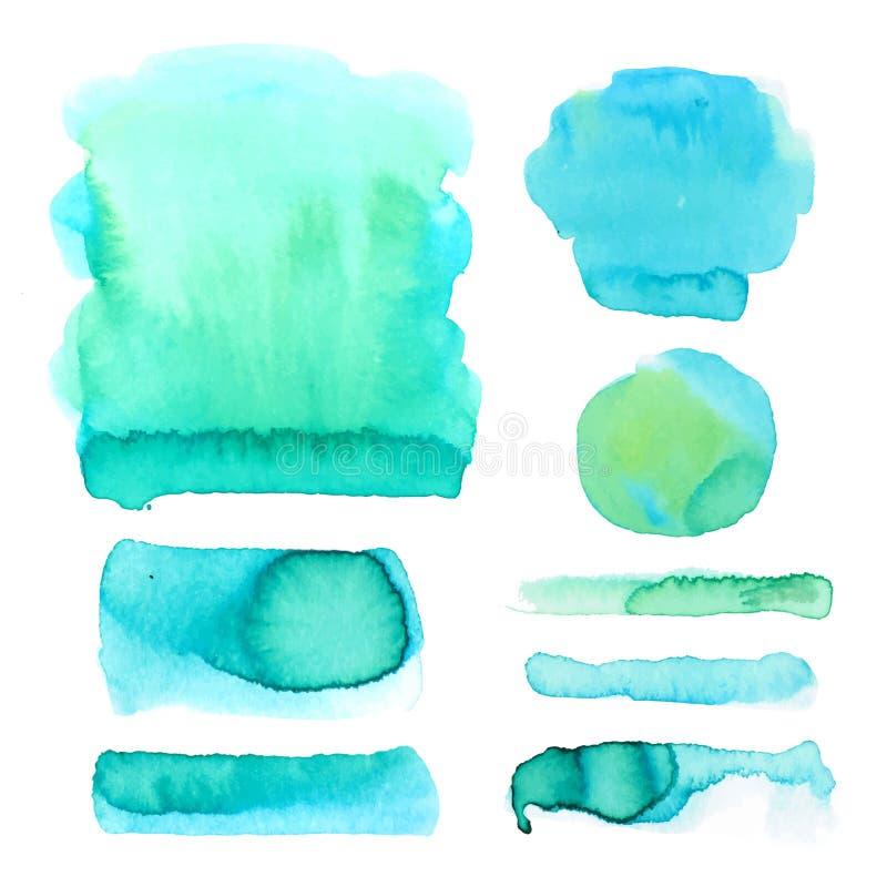 Uppsättning av vattenfärgfläckar i blåa och gröna färger Abstrakt begreppfläck- och klicksamling i vektor royaltyfri illustrationer