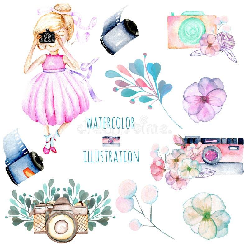 Uppsättning av vattenfärgFlicka-fotograf, retro kameror och blom- beståndsdelar vektor illustrationer