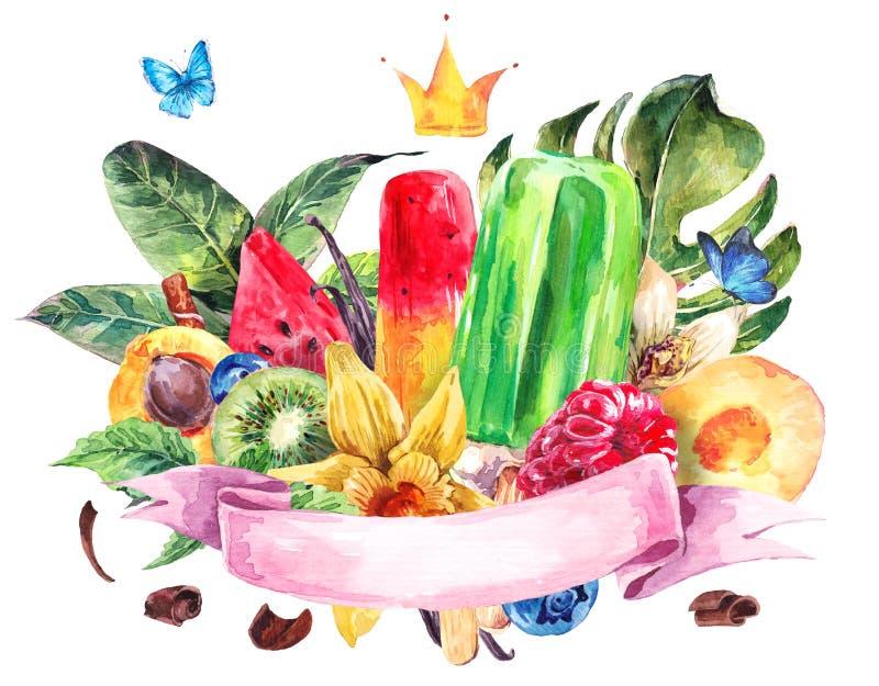 Uppsättning av vattenfärgfrukt på en vit bakgrund stock illustrationer