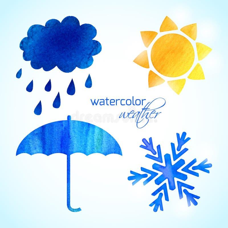 Uppsättning av vattenfärgvädersymboler stock illustrationer