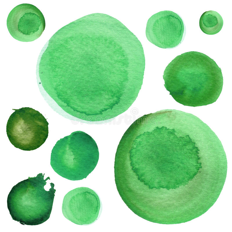 Uppsättning av vattenfärgvårgräsplan, malakit, växt av släktet Trifoliumcirklar Planlägger runda beståndsdelar för akvarellen för royaltyfri illustrationer