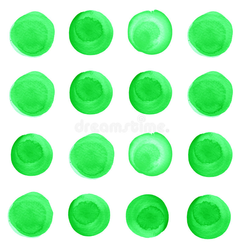 Uppsättning av vattenfärgvårgräsplan, malakitcirklar stock illustrationer