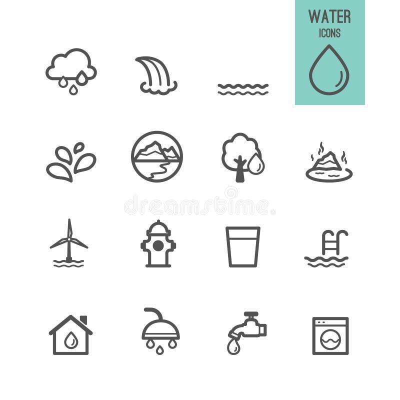 Uppsättning av vattensymbolen royaltyfri illustrationer