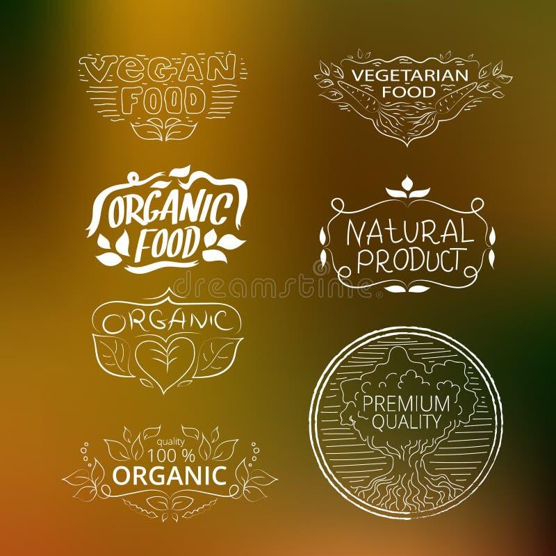 Uppsättning av vegetarisk mat för logoer, organisk mat, strikt vegetarianmat Collecti vektor illustrationer
