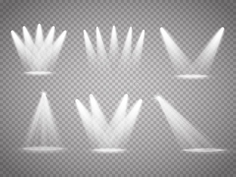 Uppsättning av vektor isolerade strålkastare Etappljus på genomskinlig bakgrund vektor illustrationer