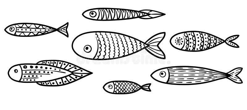 Uppsättning av vektor stiliserade fiskar Samling av akvariefisken royaltyfri illustrationer