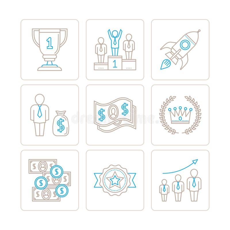 Uppsättning av vektoraffärssymboler och begrepp i den mono tunna linjen stil stock illustrationer