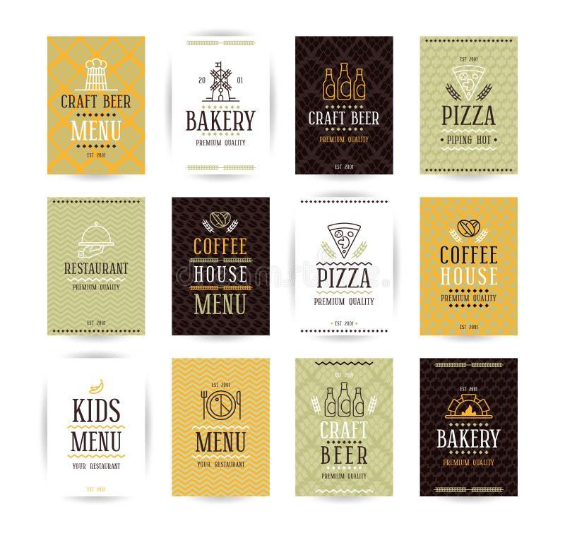 Uppsättning av vektoraffischmallar för bagerit, kafé, restaurang, piz stock illustrationer