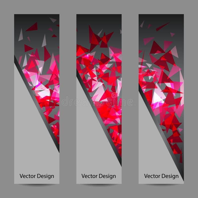 Uppsättning av vektorbaner med polygonal bakgrund royaltyfri illustrationer