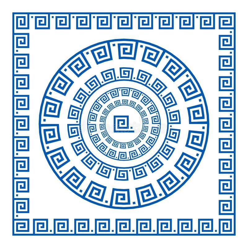 Uppsättning av vektorborstar som skapar grekiska slingringarmodeller och prövkopior av deras applikation för runda och som kvadre stock illustrationer
