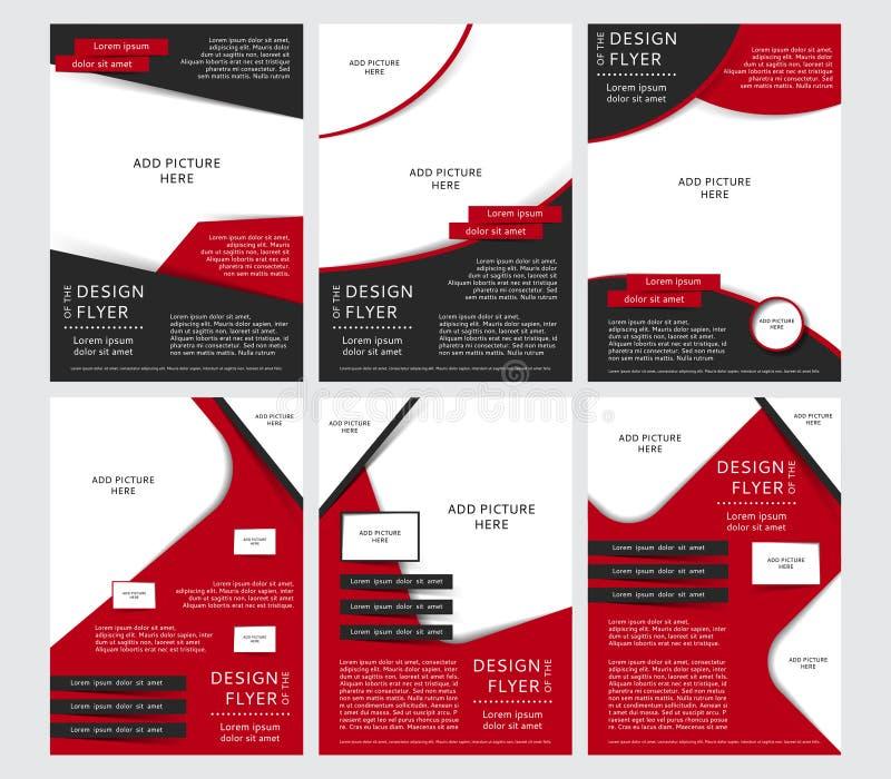 Uppsättning av vektordesignen av de svarta och röda reklambladen, räkning, broschyr, affisch, rapport med ställen för bilder vektor illustrationer