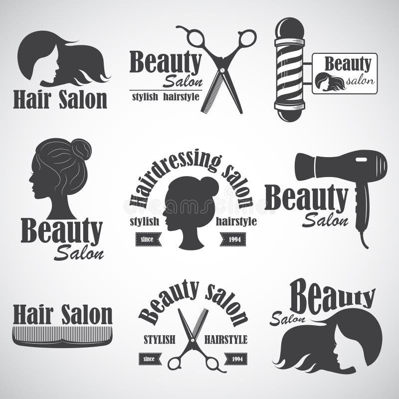Uppsättning av vektoremblemet, etikett, emblem, logoer för salong för frisör` s royaltyfri illustrationer