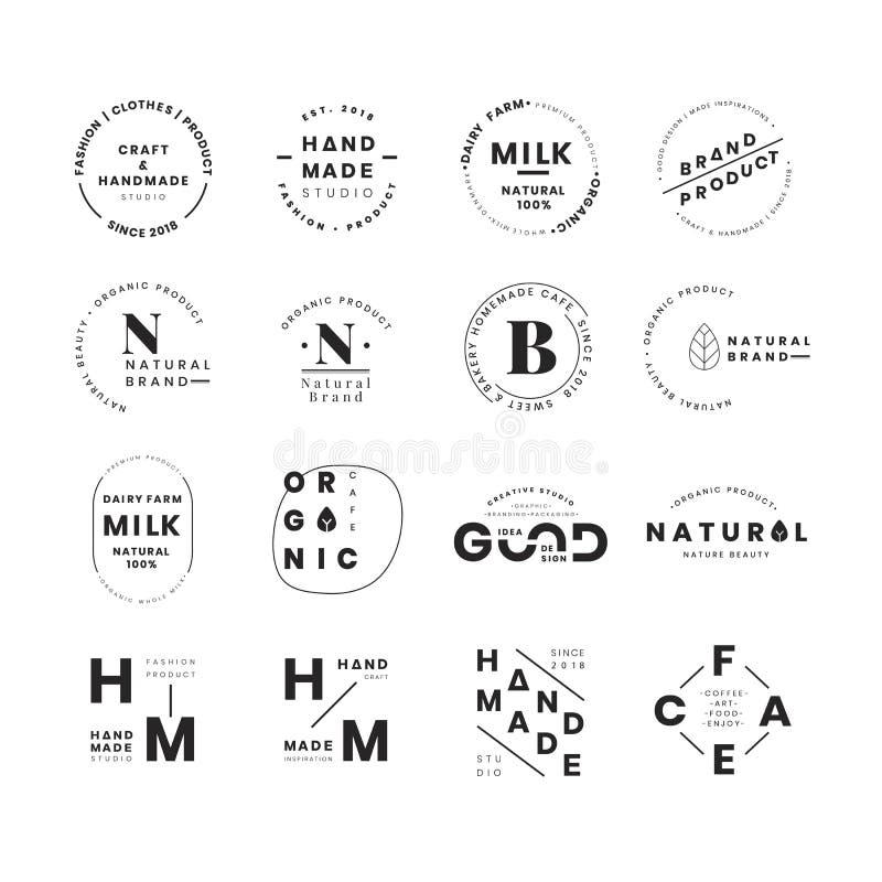 Uppsättning av vektorer för logoemblemdesign vektor illustrationer