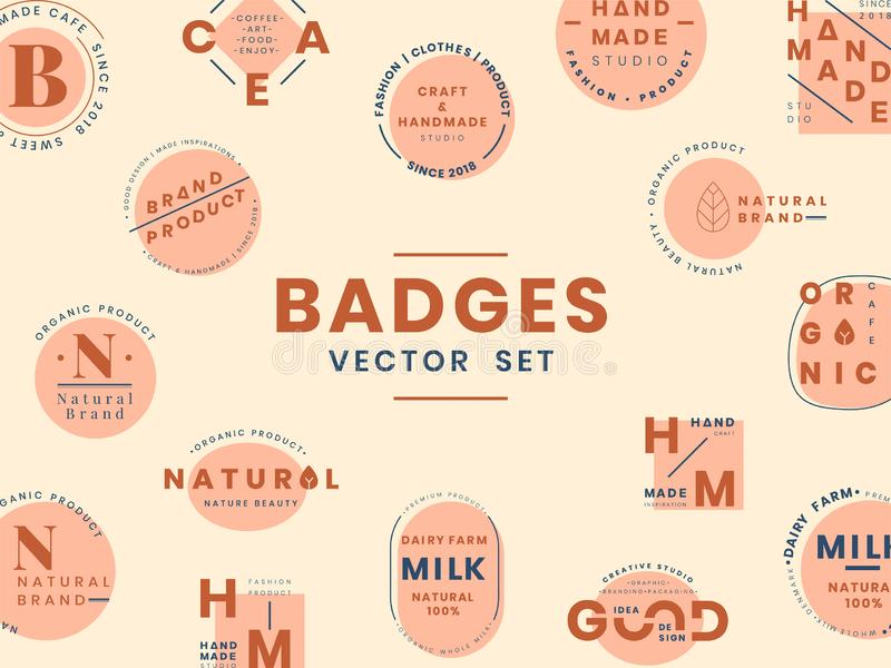 Uppsättning av vektorer för logoemblemdesign stock illustrationer