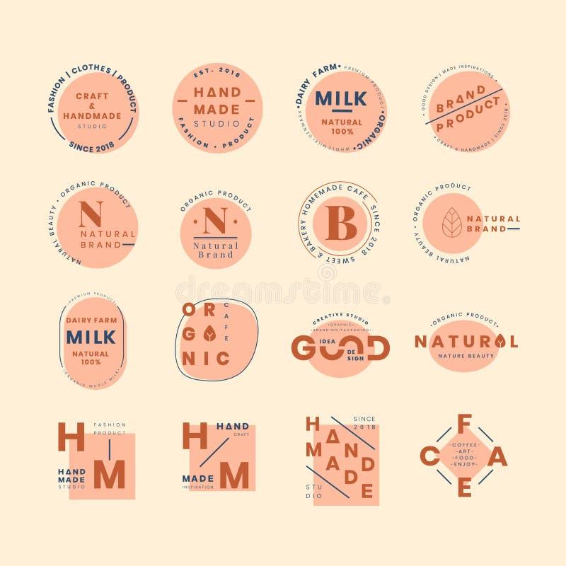 Uppsättning av vektorer för logoemblemdesign royaltyfri illustrationer