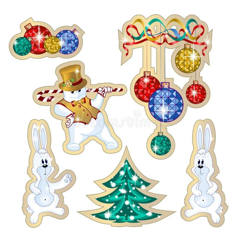 Uppsättning av vektoretiketter för vinterferierna Klistermärkedanssnögubben i en hatt och en guld- väst, kanin, dekorerade trädet vektor illustrationer