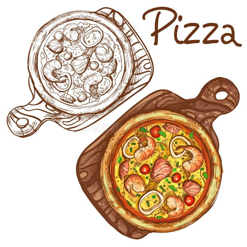 Uppsättning av vektorfärgillustrationer och svartvit hel pizza med skaldjur på ett träbräde royaltyfri illustrationer
