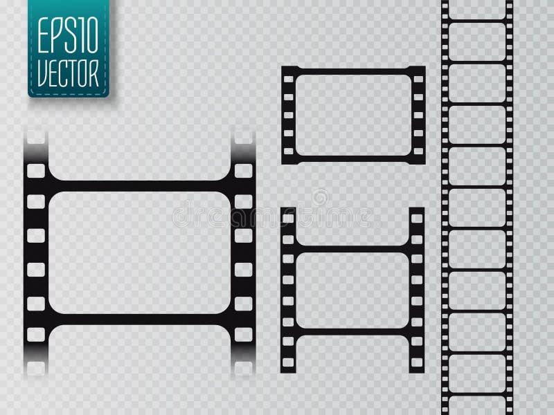 Uppsättning av vektorfilmremsan som isoleras på genomskinlig bakgrund royaltyfri illustrationer