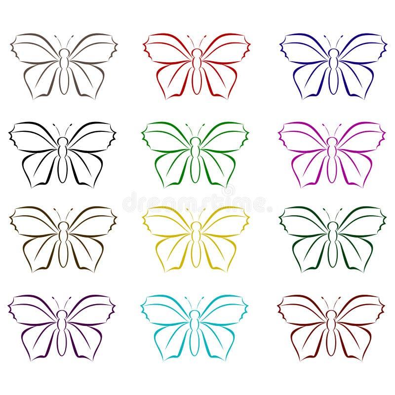 Uppsättning av vektorfjärilar stock illustrationer