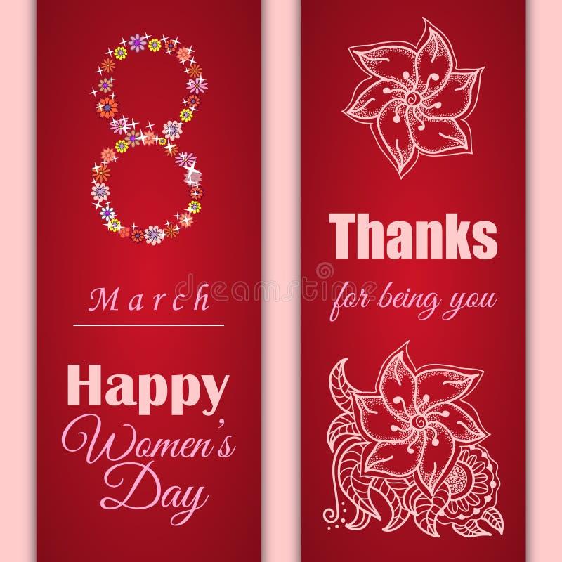 Uppsättning av vektorhälsningkort eller baner för 8 marsch lyckliga s kvinnor för dag vektor illustrationer