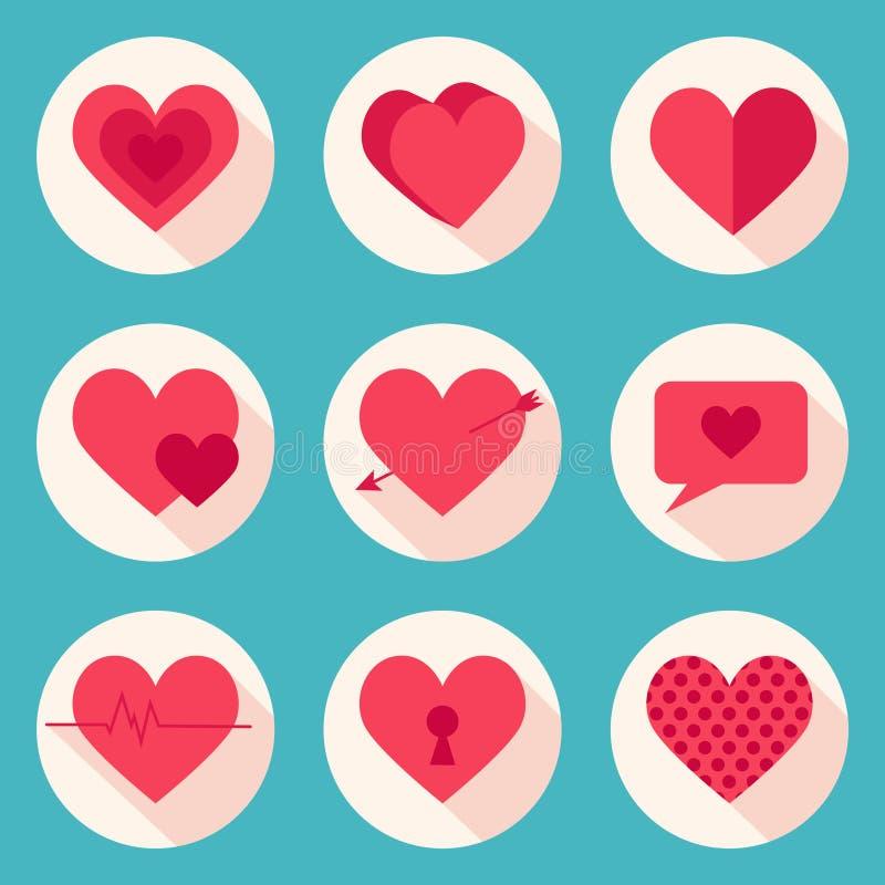 Uppsättning av vektorhjärtor Tema för dag för valentin` s royaltyfri illustrationer