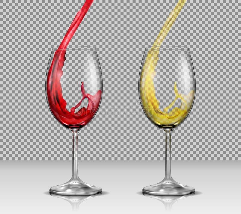 Uppsättning av vektorillustrationer av genomskinliga glass vinexponeringsglas med vit och rött vin som häller i dem vektor illustrationer