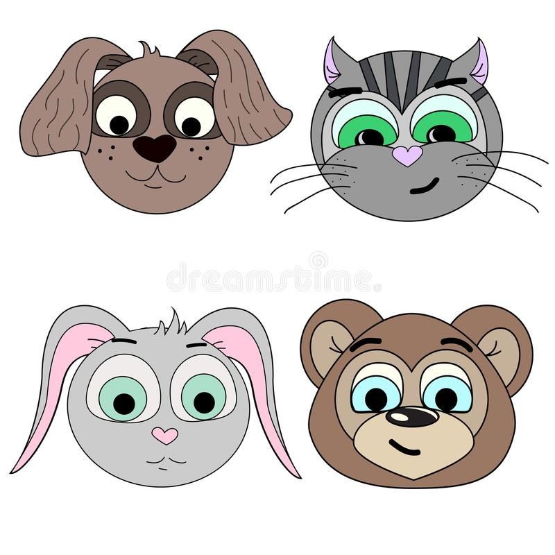 Uppsättning av vektorillustrationer av djura huvud Hund katt, hare, björn royaltyfri illustrationer