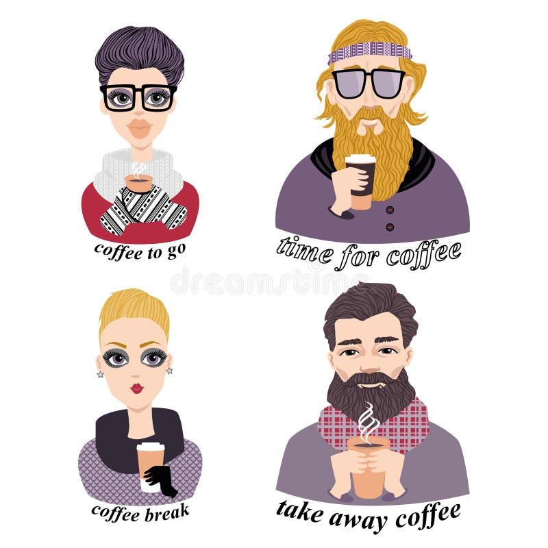 Uppsättning av vektorillustrationer av trendiga ungdomarsom dricker kaffe vektor illustrationer