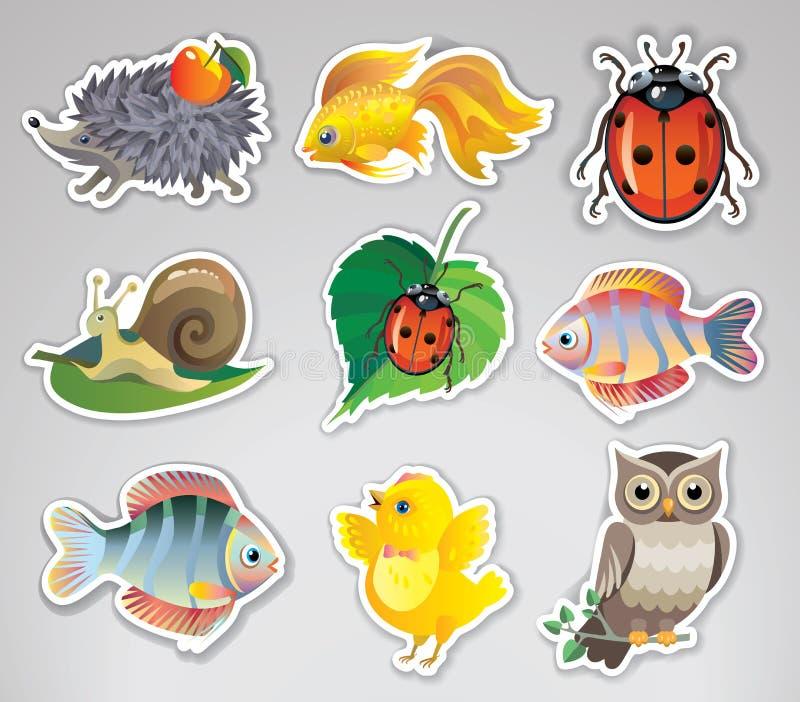 Uppsättning av vektorklistermärkear med djur royaltyfri illustrationer