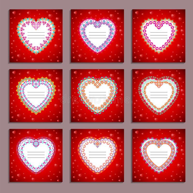 Uppsättning av vektorkortmallar till dagen för valentin` s stock illustrationer