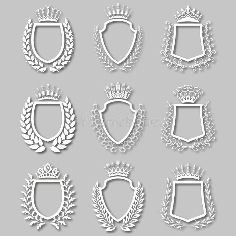 Uppsättning av vektorlagerkransar, sköldar royaltyfri illustrationer