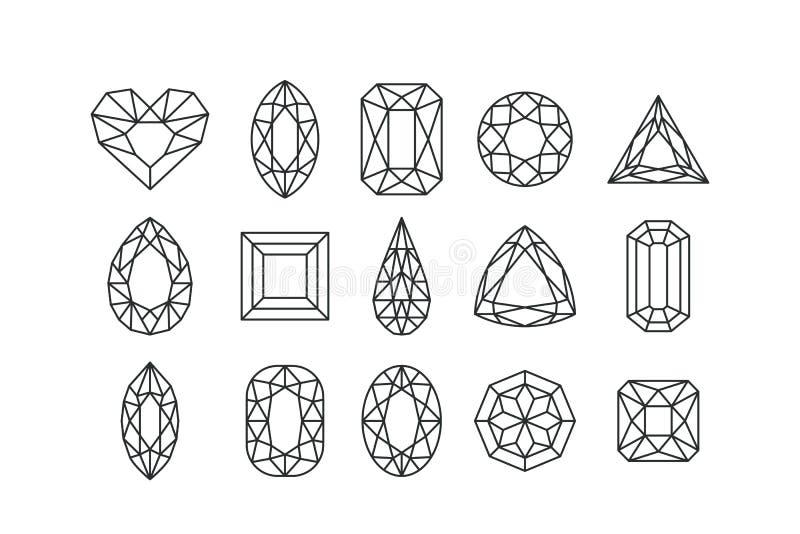 Uppsättning av vektorlinjen konstädelstenar och juvlar som isoleras på vit bakgrund Linjära diamanter med olika snitt vektor illustrationer